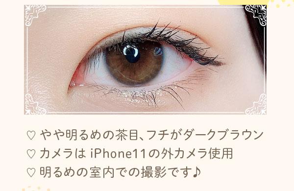 やや明るめの茶目、フチがダークブラウン カメラは iPhone11の外カメラ使用 明るめの室内での撮影です♪