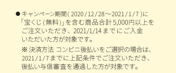 キャンペーン期間(2020/12/28~2021/1/7)に「宝くじ(無料)」を含む商品合計5,000円以上をご注文いただき、2021/1/14までにご入金いただいた方が対象です。※決済方法コンビニ後払いをご選択の場合は、 2021/1/7までに上記条件でご注文いただき後払い与信審査を通過した方が対象です。